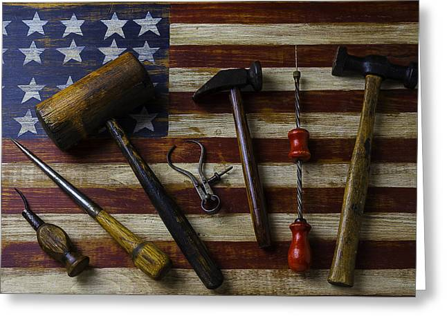 Old Tools On Wooden Flag Greeting Card by Garry Gay