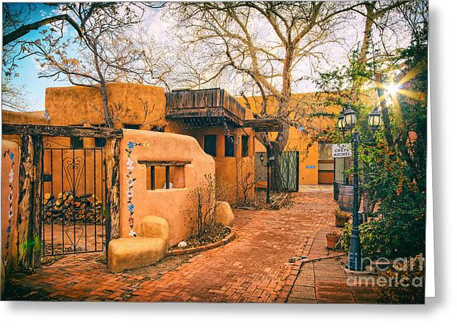 Colonial Style Greeting Cards - Old Town Albuquerque Secret Passageway  - Albuquerque New Mexico Greeting Card by Silvio Ligutti