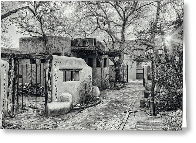 Colonial Style Greeting Cards - Old Town Albuquerque Secret Passageway in Black And White - Albuquerque New Mexico Greeting Card by Silvio Ligutti