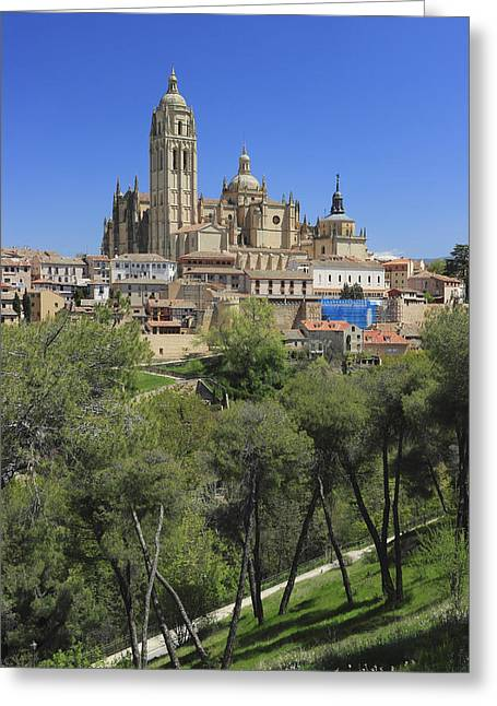 Historic Site Greeting Cards - Old Town and Cathedral of Segovia Spain Greeting Card by Ivan Pendjakov