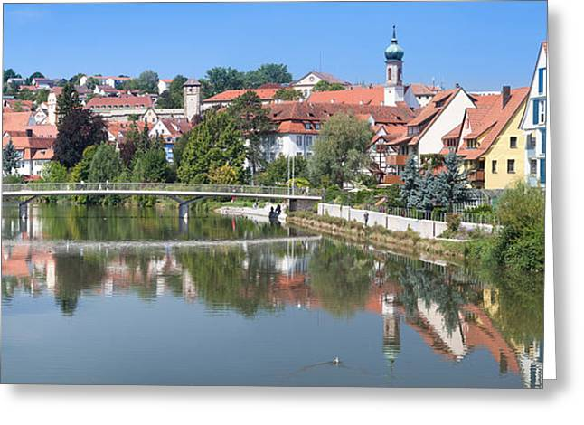 Tor Greeting Cards - Old Town At The Neckar River Greeting Card by Panoramic Images