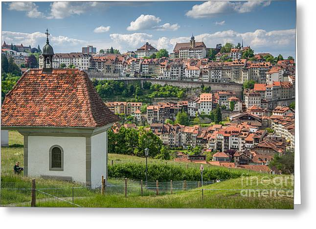 Swiss Photographs Greeting Cards - Old Town Fribourg Greeting Card by Ning Mosberger-Tang