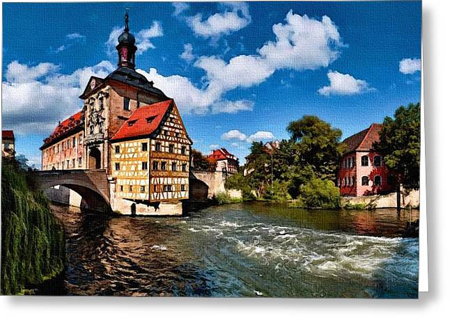 Abstract Digital Pastels Greeting Cards - Old Town Hall Bamberg Germany H B Greeting Card by Gert J Rheeders