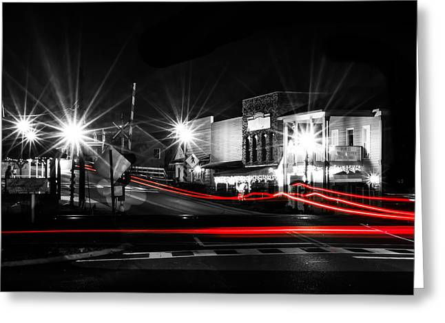 Crosswalk Greeting Cards - Old Town Helena At Night Greeting Card by Shelby  Young