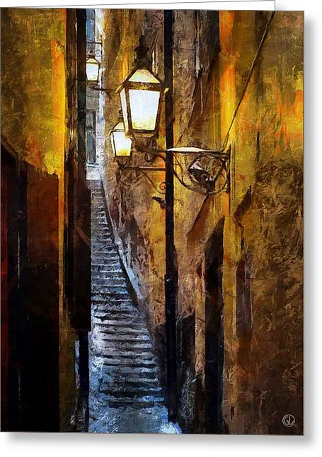 Old Town Digital Greeting Cards - Old town in Stockholm Greeting Card by Gun Legler