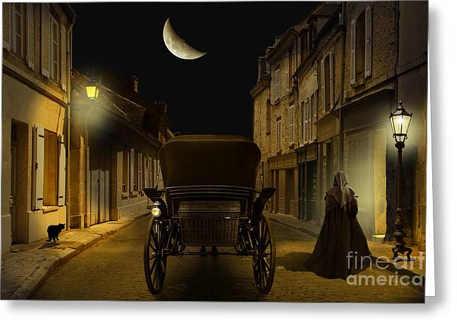 Night Lamp Greeting Cards - Old Town in the night Greeting Card by Monika Juengling