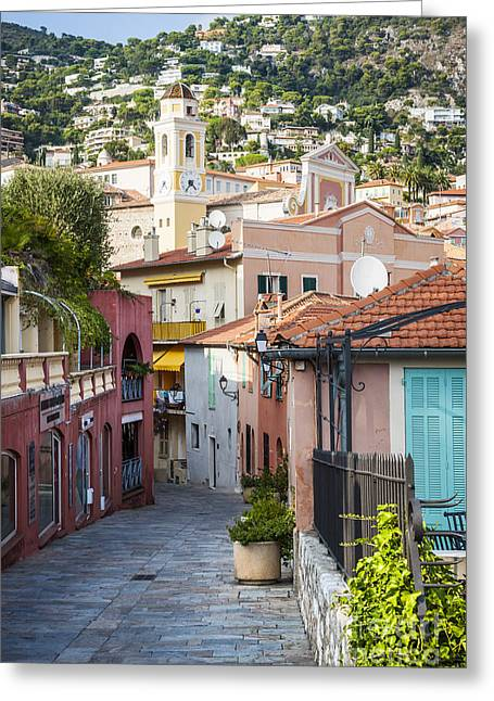 Alpes Greeting Cards - Old town in Villefranche-sur-Mer Greeting Card by Elena Elisseeva