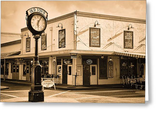 Lessons Greeting Cards - Old Town - Kissimmee - Florida - Summer Sunset - Sepia Greeting Card by Greg Jackson