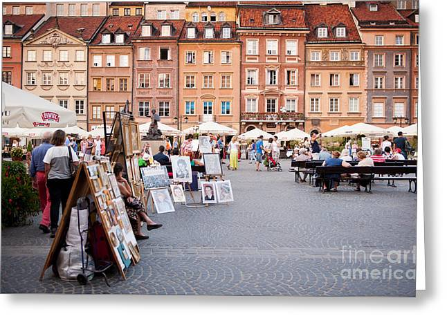 Old Street Greeting Cards - Old Town Market Place Greeting Card by Arletta Cwalina