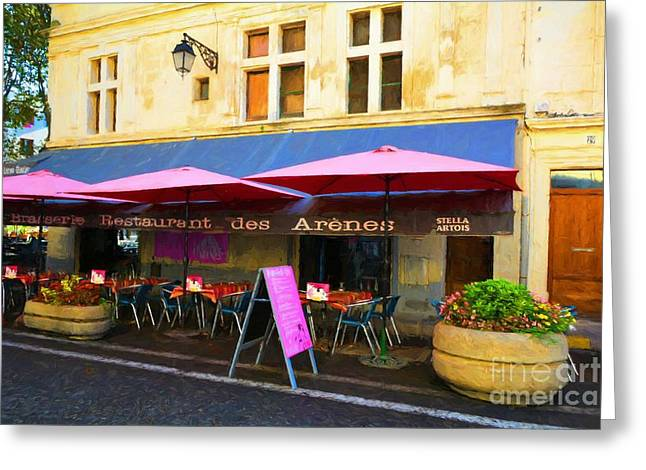 European Restaurant Greeting Cards - Old Town Of Arles 5 Greeting Card by Mel Steinhauer