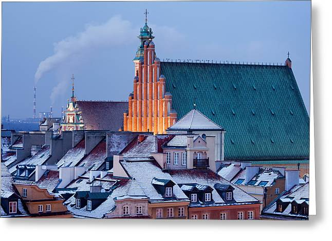 Snowy Evening Greeting Cards - Old Town of Warsaw Snowy Roofs in Winter Greeting Card by Artur Bogacki