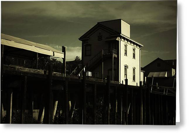 Sacramento Greeting Cards - Old Town Sacramento California Cityscape Greeting Card by Christine Till