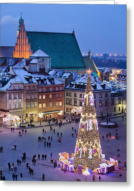 Town Square Greeting Cards - Old Town Square at Night in Warsaw Greeting Card by Artur Bogacki