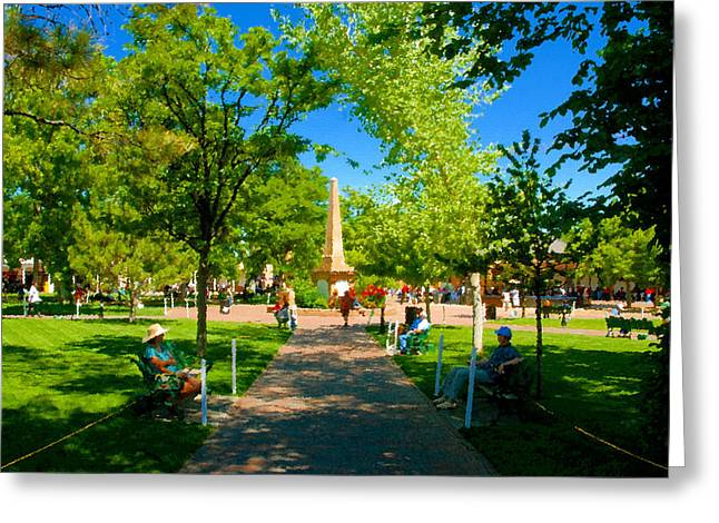 Town Square Greeting Cards - Old Town Square Santa Fe Greeting Card by David Lee Thompson