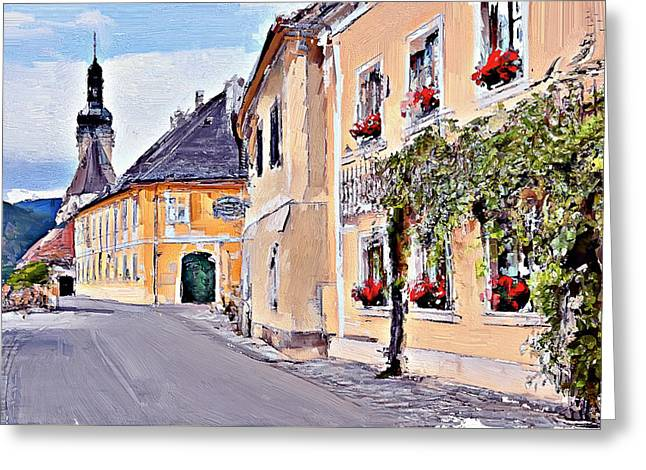 Old Town Digital Greeting Cards - Old town street in Europe Greeting Card by Yury Malkov