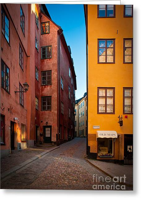Europe Greeting Cards - Old Town Streets Greeting Card by Inge Johnsson