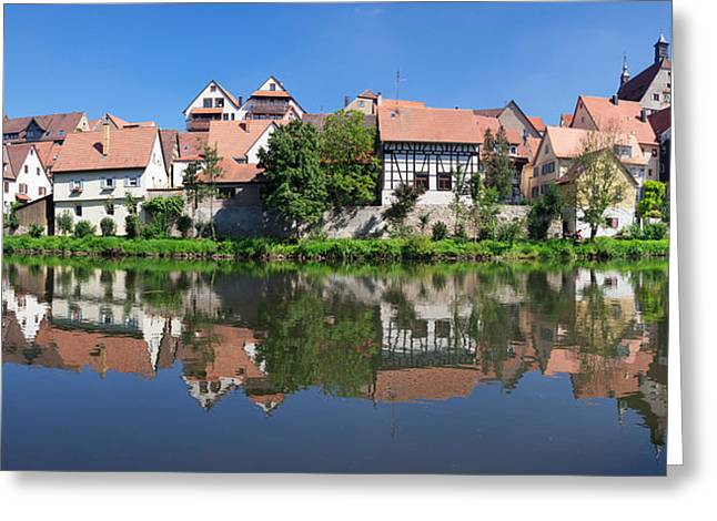 Old Town With Town Hall At Enz River Greeting Card by Panoramic Images