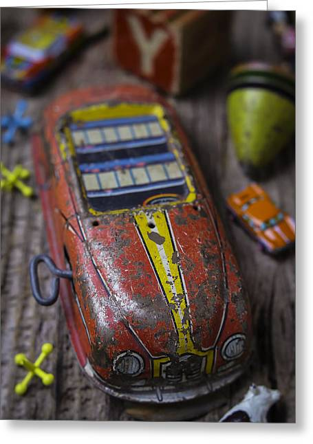 Child Toy Greeting Cards - Old Toy Car Greeting Card by Garry Gay