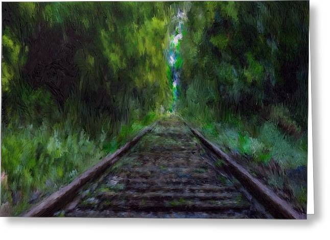 Overgrown Mixed Media Greeting Cards - Old Tracks Greeting Card by Mark Taylor
