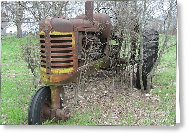 Old Pyrography Greeting Cards - Old Tractor Greeting Card by Austin Clarke