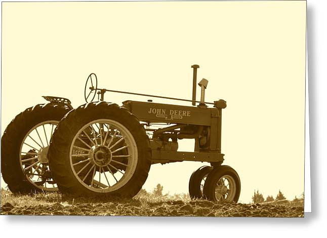 Old Tractor IIi In Sepia Greeting Card by JD Grimes