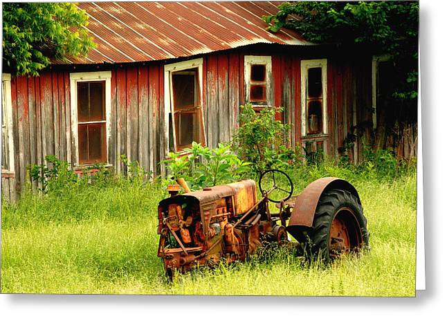 Old Tractor Greeting Card by Iris Greenwell