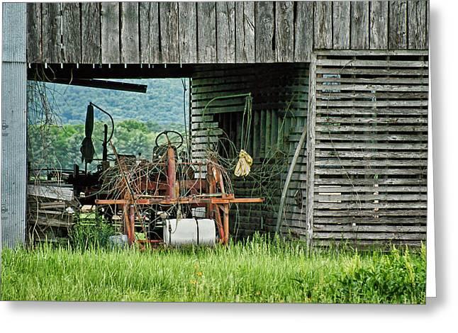 Old Tractor - Missouri - Barn Greeting Card by Nikolyn McDonald