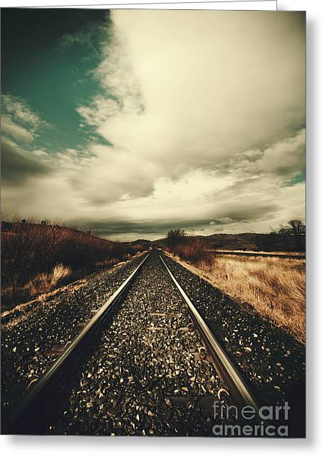 Old Train Track Greeting Card by Jorgo Photography - Wall Art Gallery