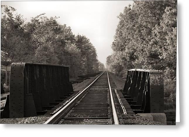 Old Train Tracks On Bridge Greeting Card by Dan Sproul