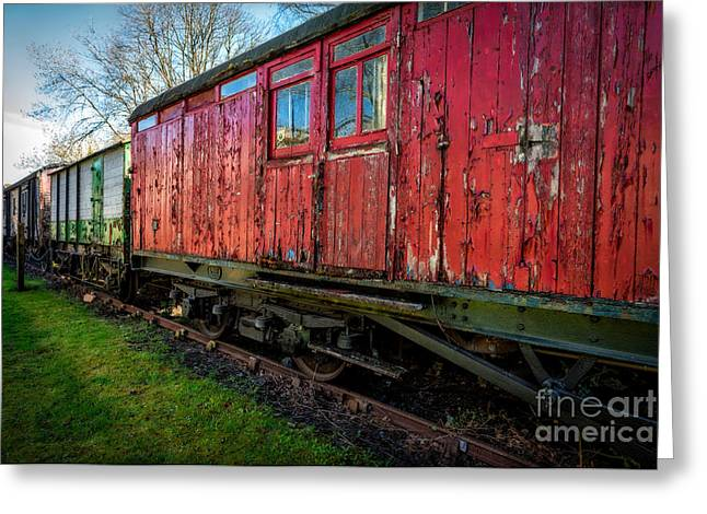 Dilapidated Digital Art Greeting Cards - Old Train Wagon Greeting Card by Adrian Evans