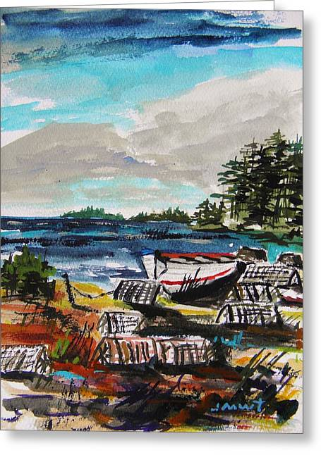 Maine Landscape Drawings Greeting Cards - Old Traps Greeting Card by John  Williams