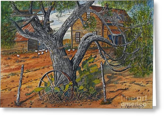 Barbed Wire Fences Mixed Media Greeting Cards - Old Tree Greeting Card by Don Hand