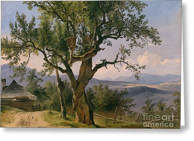 Green Ocean With White Water Greeting Cards - Old Tree with Devotional Image Greeting Card by Friedrich Gauermann
