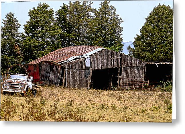 Tennessee Barn Greeting Cards - Old Truck and Barn Greeting Card by Charlotte Johnson