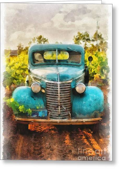 Old Truck At The Winery Greeting Card by Edward Fielding