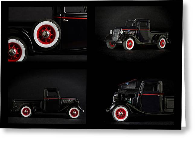 Old Trucks Greeting Cards - Old truck collage Greeting Card by Rudy Umans