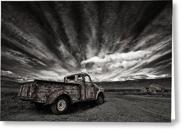 Farm Truck Greeting Cards - Old Truck (mono) Greeting Card by Thorsteinn H. Ingibergsson