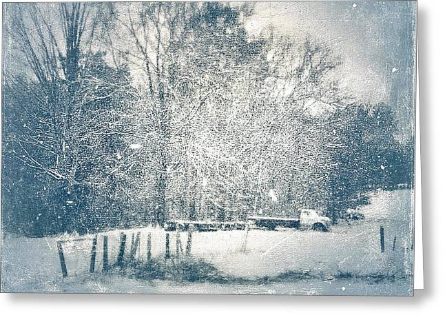 Snow Scene Landscape Greeting Cards - The glow of memory in the snow Greeting Card by Melissa D Johnston