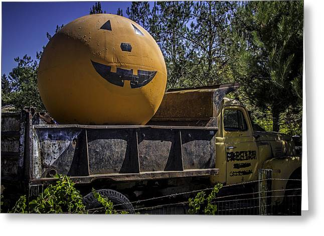 Old Truck With Large Pumpkin Greeting Card by Garry Gay