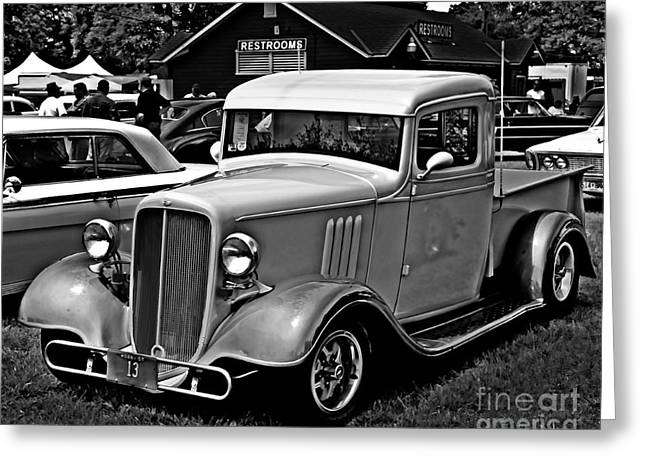 White Truck Greeting Cards - Old Trucking Greeting Card by Perry Webster