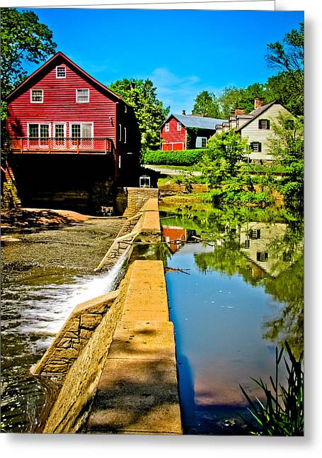 River View Greeting Cards - Old Village Grist Mill Greeting Card by Colleen Kammerer