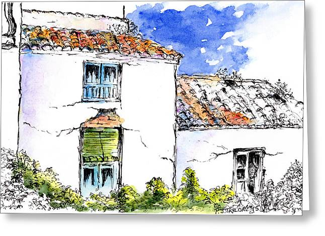 Andalucia Mixed Media Greeting Cards - Old Village Houses Greeting Card by Pam Taylor