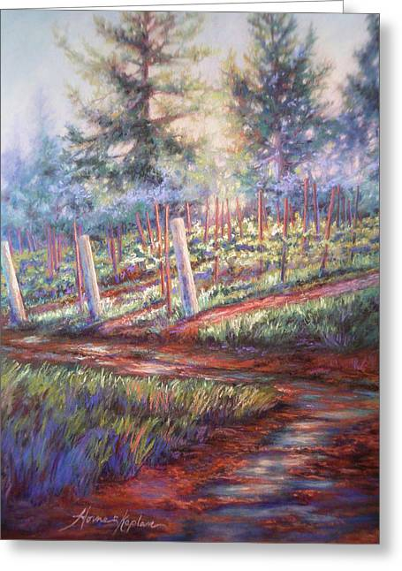 Puddle Pastels Greeting Cards - Old Vines and Fresh Rain Greeting Card by Denise Horne-Kaplan