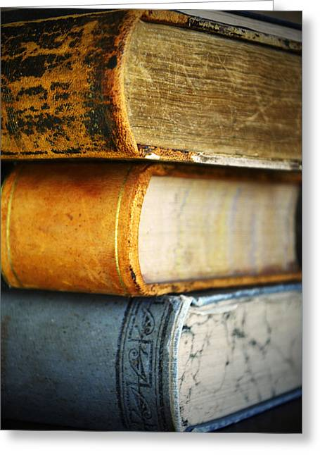 Old Vintage Books Greeting Card by Pam Walker