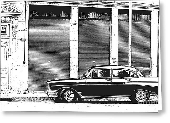 Havana Greeting Cards - Old Vintage Car in Havana Greeting Card by Edward Fielding