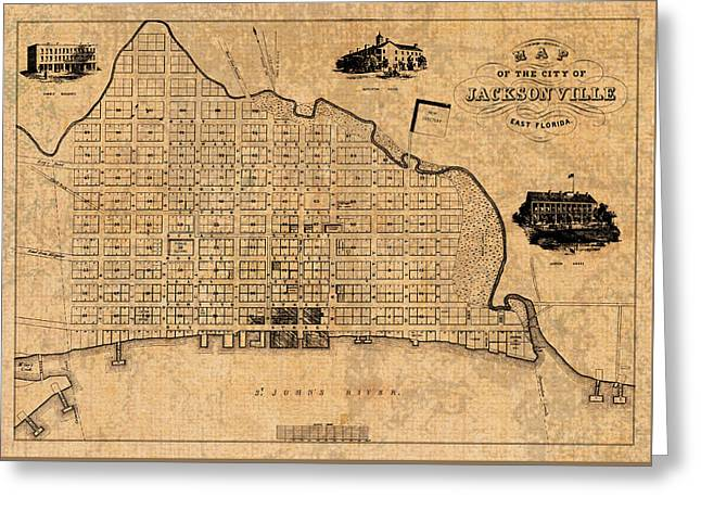 Jacksonville Mixed Media Greeting Cards - Old Vintage Map of Jacksonville Florida Circa 1859 on Worn Distressed Parchment Greeting Card by Design Turnpike
