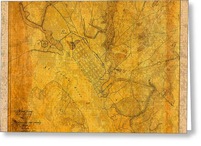 Vintage Map Mixed Media Greeting Cards - Old Vintage Map of Jacksonville Florida Circa 1864 Civil War on Worn Distressed Parchment Greeting Card by Design Turnpike