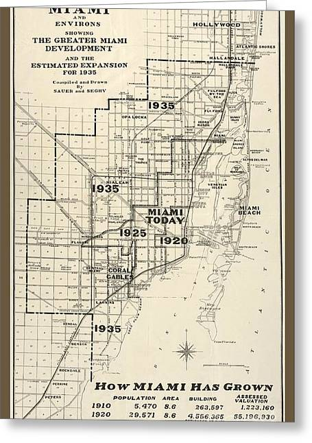 Old Vintage Miami City Map Greeting Card by Pd