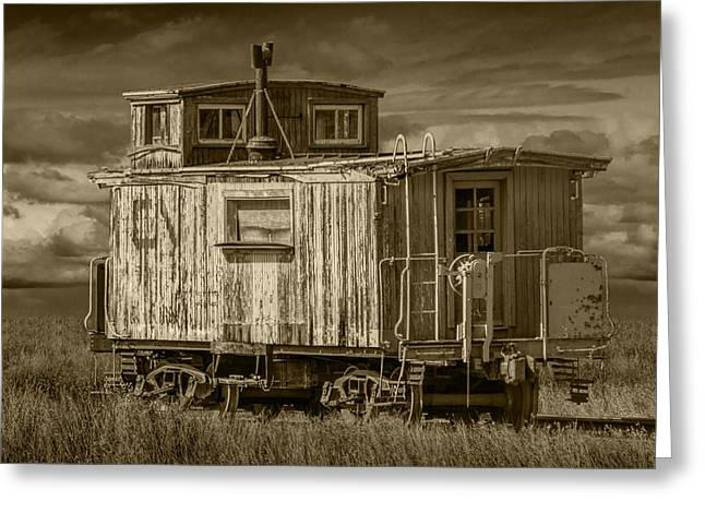 Old Caboose Greeting Cards - Old Vintage Train Caboose Greeting Card by Randall Nyhof