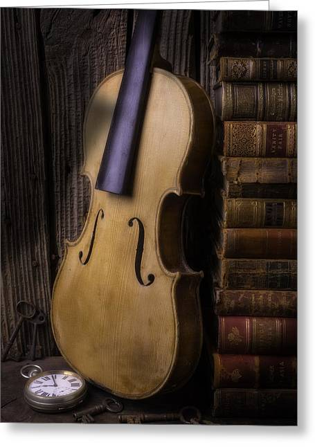 Knowledge Object Greeting Cards - Old Violin With Stack Of Worn Books Greeting Card by Garry Gay